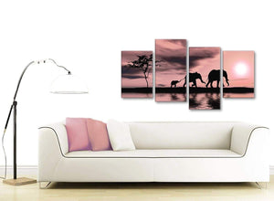 Contemporary Large Blush Pink African Sunset Elephants Canvas Wall Art Print Multi 4 Piece 130cm Wide For Your Kitchen-4361