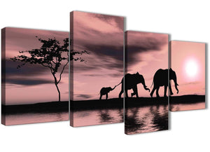 Oversized Large Blush Pink African Sunset Elephants Canvas Wall Art Print Multi 4 Piece 130cm Wide For Your Dining Room-4361