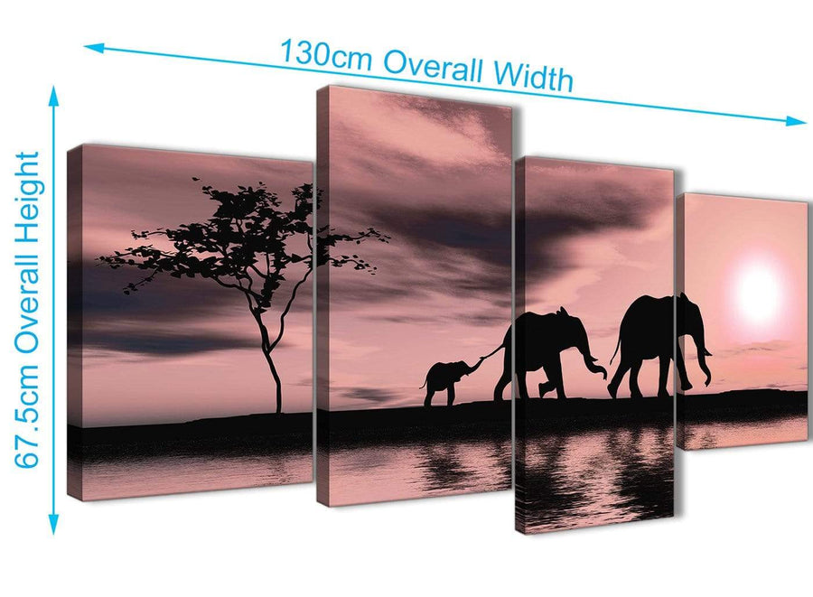 Panoramic Large Blush Pink African Sunset Elephants Canvas Wall Art Print Multi 4 Piece 130cm Wide For Your Dining Room-4361
