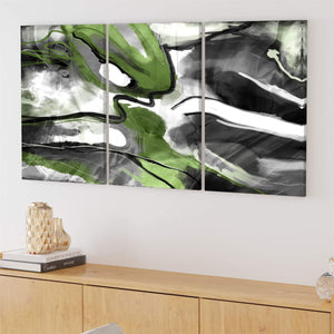 Abstract Lime Green Black Graphic Canvas Art Prints