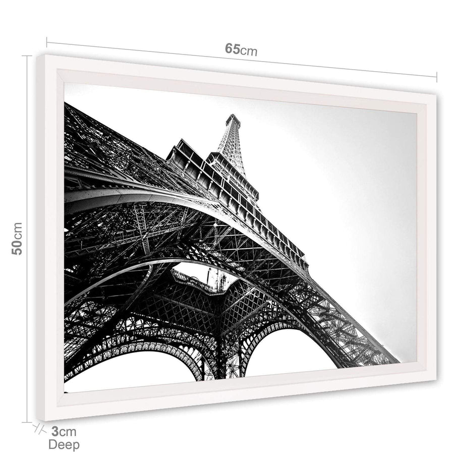 Architecture Canvas Wall Art Picture Eiffel Tower Paris Grey White