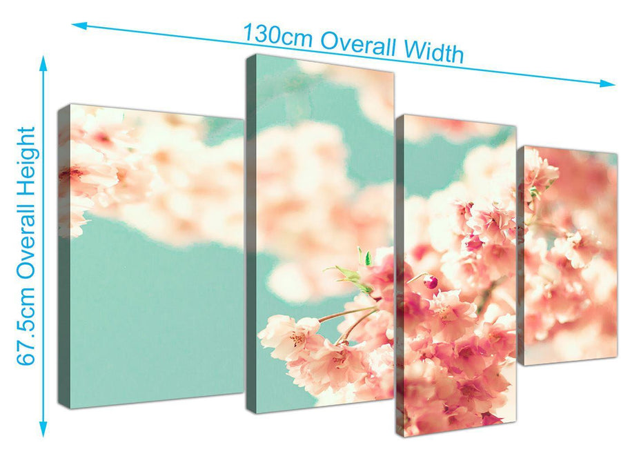 panoramic large japanese cherry blossom shabby chic pink blue floral canvas split 4 piece 4288 for your living room
