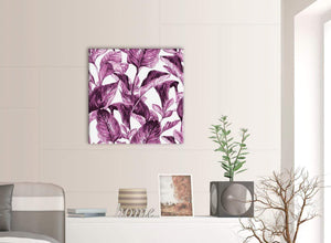 Contemporary Plum Aubergine White Tropical Leaves Canvas Modern 64cm Square 1S319M For Your Bedroom