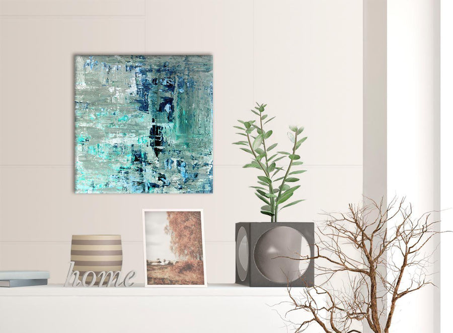 Contemporary Turquoise Teal Abstract Painting Wall Art Print Canvas Modern 49cm Square 1S333S For Your Hallway