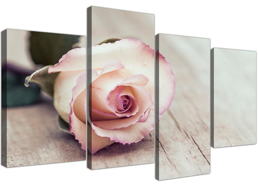cheap large vintage shabby chic french rose cream floral canvas split 4 panel 4278 for your bedroom