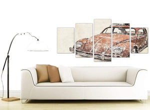 contemporary extra large vw beetle bug rat look surfer brown volkswagen lifestyle canvas split 5 part 5279 for your office