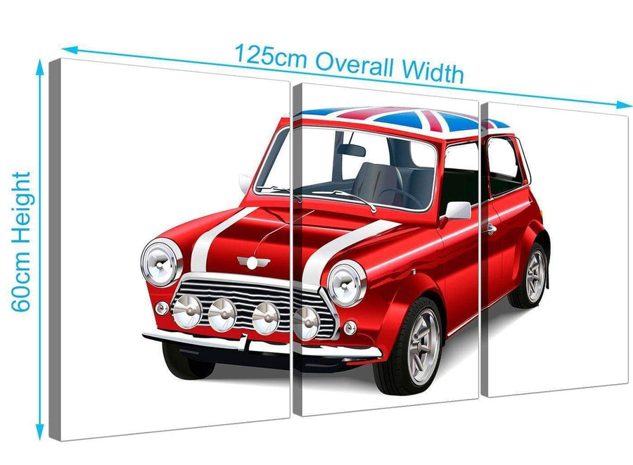 panoramic mini cooper lifestyle canvas multi 3 set 3277 for your boys bedroom