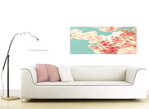 contemporary japanese cherry blossom shabby chic pink blue floral canvas modern 120cm wide 1288 for your study