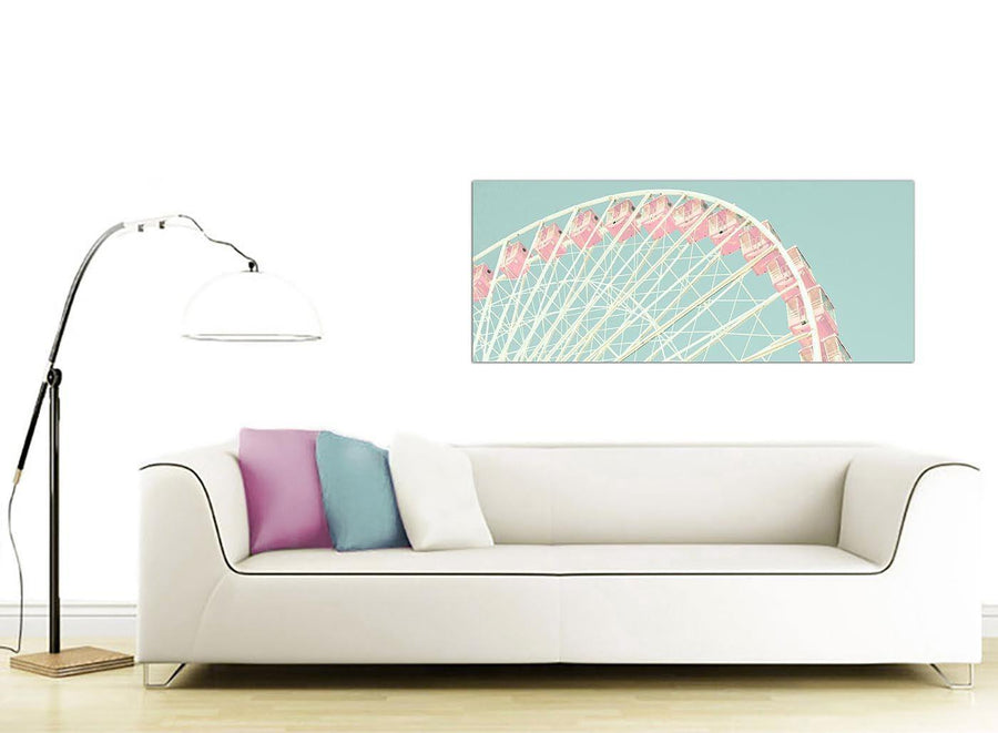 contemporary shabby chic duck egg blue pink ferris wheel lifestyle canvas modern 120cm wide 1282 for your teenage girls bedroom