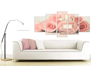 contemporary extra large shabby chic pink cream rose perfume girls bedroom floral canvas split 5 part 5285 for your bedroom