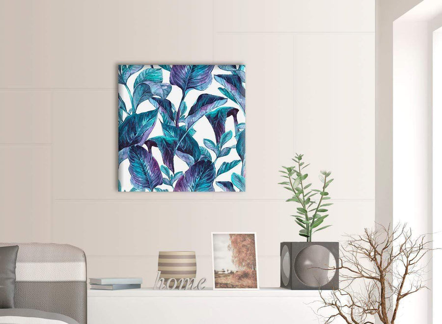 Contemporary Turquoise And White Tropical Leaves Canvas Modern 64cm Square 1S323M For Your Living Room