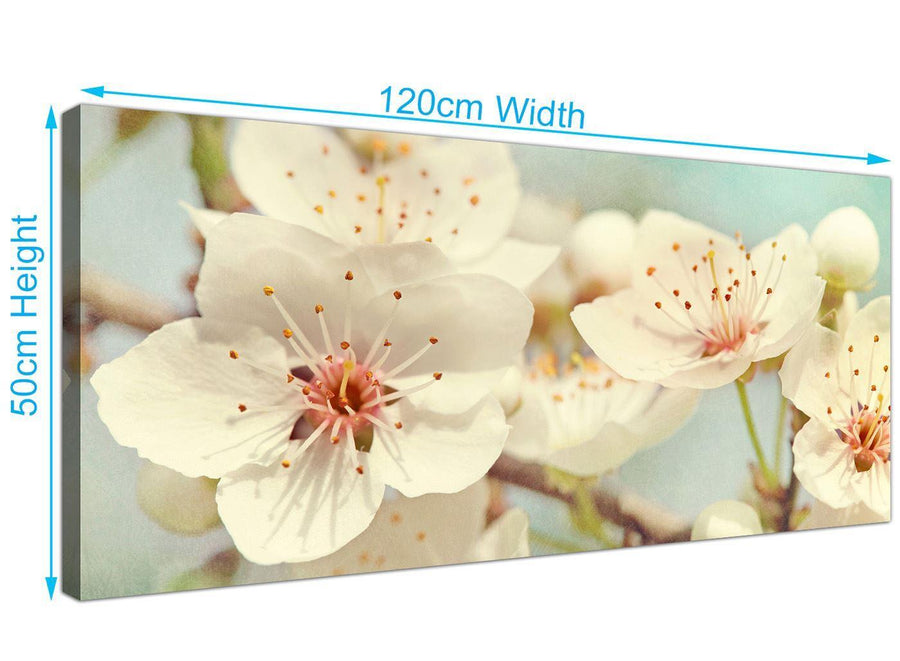 panoramic japanese cherry blossom duck egg blue white floral canvas modern 120cm wide 1289 for your hallway