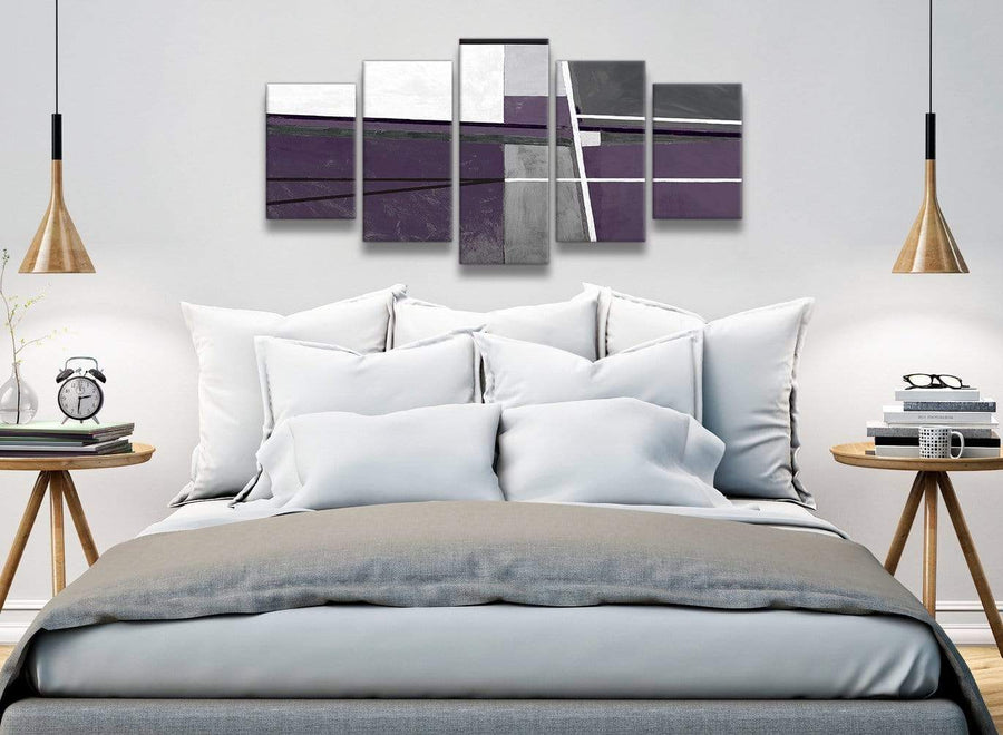 5 Panel Aubergine Grey Painting Abstract Dining Room Canvas Wall Art Decor - 5392 - 160cm XL Set Artwork