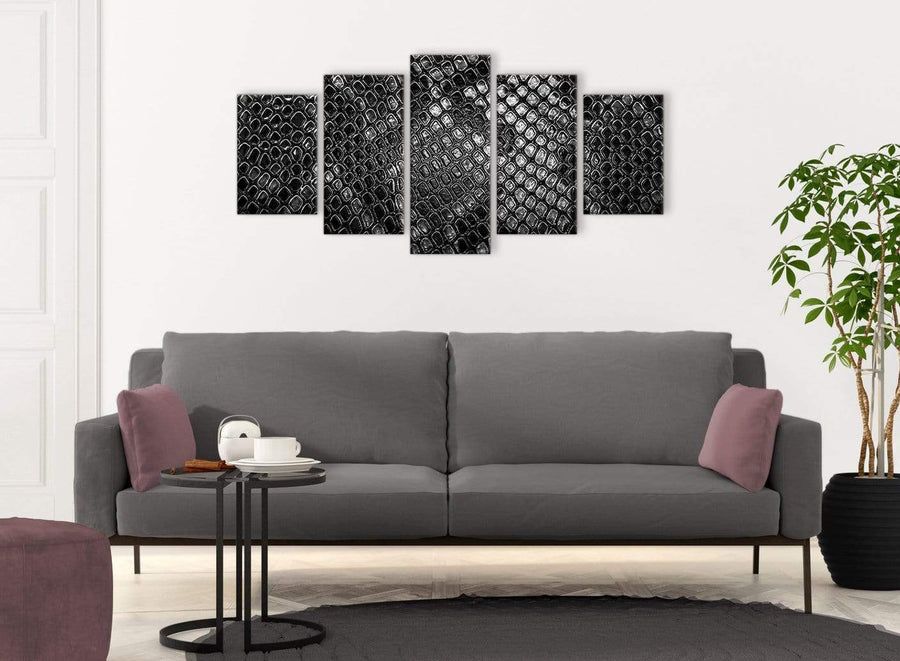 5 Panel Black White Snakeskin Animal Print Abstract Bedroom Canvas Pictures Decor - 5510 - 160cm XL Set Artwork