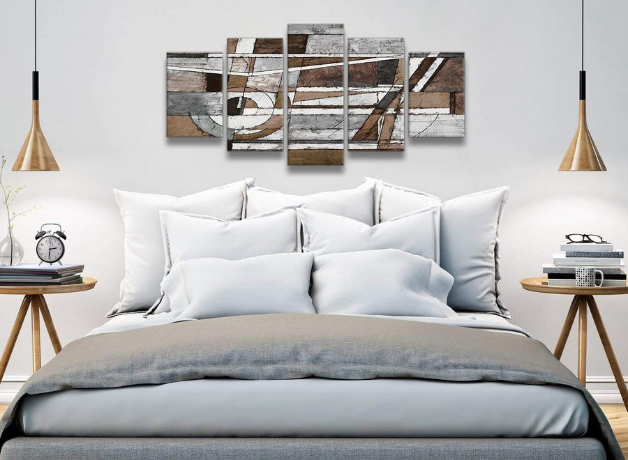 5 Part Brown Beige White Painting Abstract Office Canvas Pictures Decorations - 5407 - 160cm XL Set Artwork