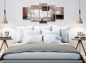 5 Panel Brown White Painting Abstract Office Canvas Pictures Decorations - 5422 - 160cm XL Set Artwork