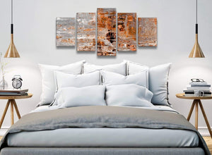 5 Piece Burnt Orange Grey Painting Abstract Living Room Canvas Pictures Decor - 5415 - 160cm XL Set Artwork