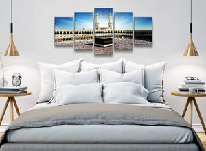 5 Piece Canvas Wall Art Pictures - Islamic Canvas - Hajj Pilgrimage Kaaba - 5191 - 160cm XL Set Artwork