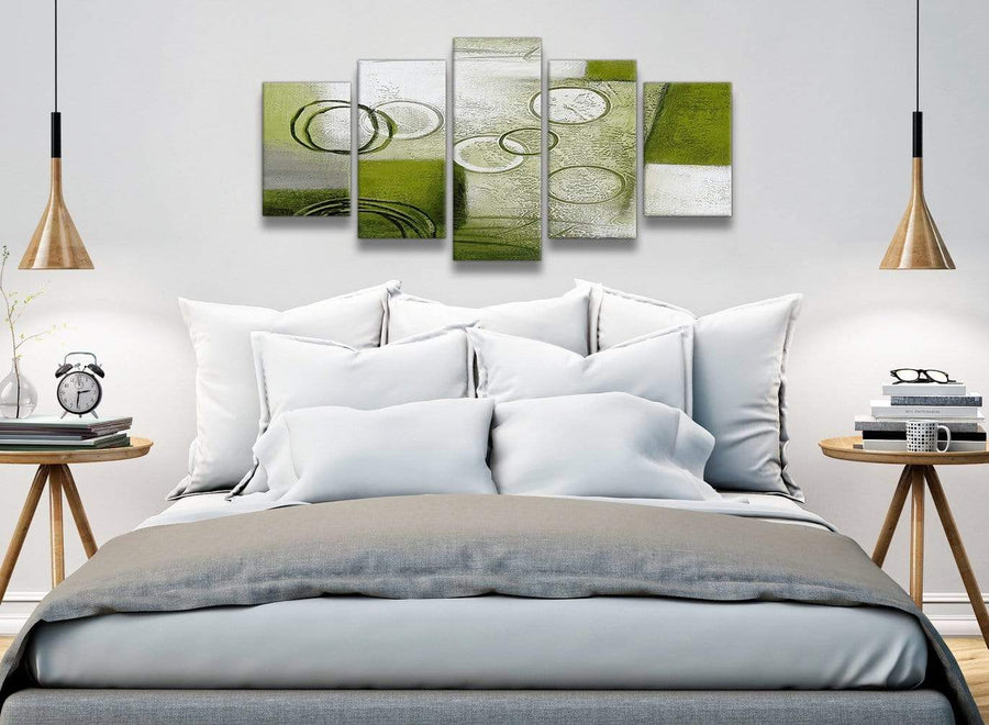 5 Panel Lime Green Painting Abstract Bedroom Canvas Wall Art Decor - 5434 - 160cm XL Set Artwork