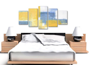 5 Panel Mustard Yellow Blue Abstract Dining Room Canvas Pictures Decor - 5371 - 160cm XL Set Artwork