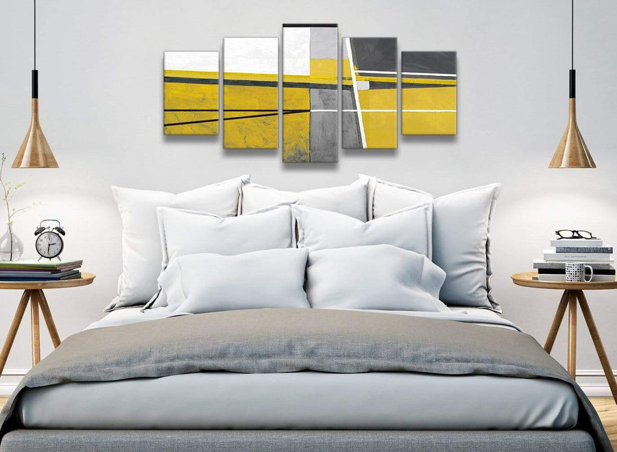 5 Piece Mustard Yellow Grey Painting Abstract Bedroom Canvas Wall Art Decor - 5388 - 160cm XL Set Artwork