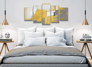 5 Panel Mustard Yellow Grey Painting Abstract Bedroom Canvas Pictures Decor - 5419 - 160cm XL Set Artwork