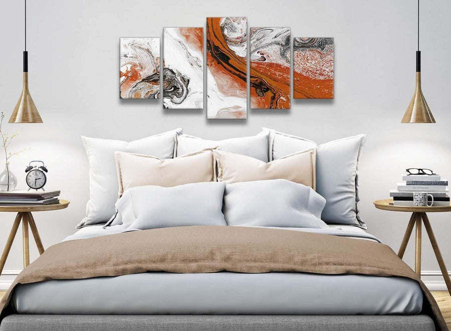 5 Panel Orange and Grey Swirl Abstract Office Canvas Pictures Decorations - 5461 - 160cm XL Set Artwork