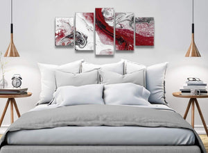 5 Piece Red and Grey Swirl Abstract Bedroom Canvas Wall Art Decor - 5467 - 160cm XL Set Artwork
