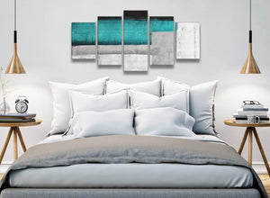 5 Piece Teal Turquoise Grey Painting Abstract Office Canvas Wall Art Decor - 5429 - 160cm XL Set Artwork
