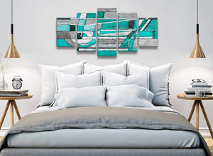 5 Piece Turquoise Grey Painting Abstract Living Room Canvas Wall Art Decorations - 5403 - 160cm XL Set Artwork