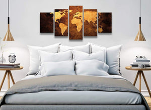 5 Piece Vintage Old World Map - Brown Cream Canvas - Abstract Bedroom Canvas Wall Art Decor - 5188 - 160cm XL Set Artwork