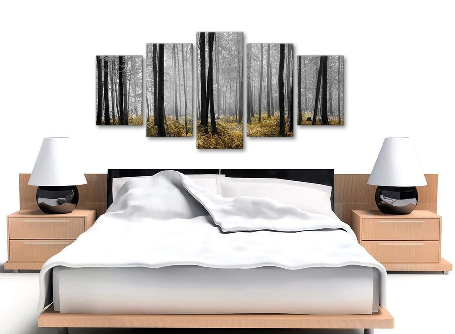 5 Piece Yellow and Grey Forest Woodland Trees Dining Room Canvas Wall Art Decorations - 5384 - 160cm XL Set Artwork