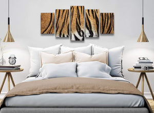 5 Part Canvas Wall Art Pictures - Tiger Animal Print - 5472 - 160cm XL Set Artwork