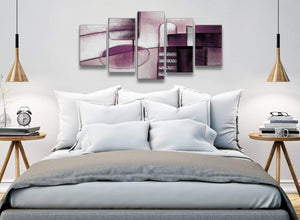 5 Panel Plum Grey Painting Abstract Living Room Canvas Wall Art Decor - 5420 - 160cm XL Set Artwork