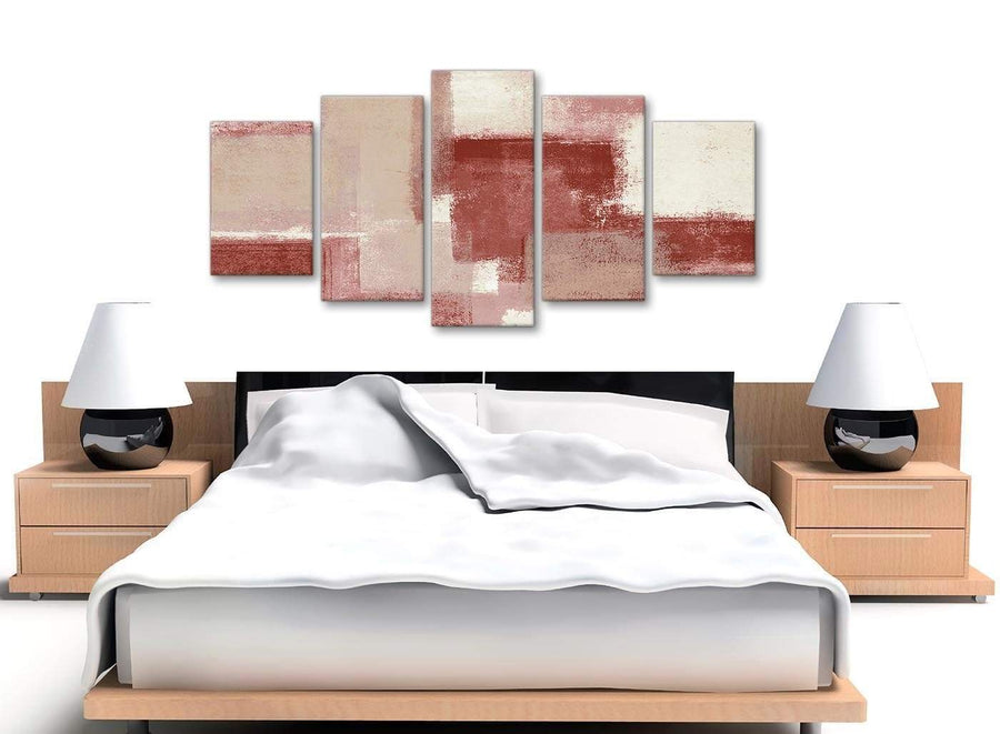 5 Piece Red and Cream Abstract Dining Room Canvas Pictures Decorations - 5370 - 160cm XL Set Artwork