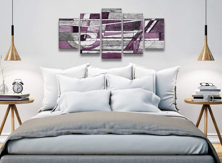5 Piece Aubergine Grey White Painting Abstract Dining Room Canvas Pictures Decorations - 5406 - 160cm XL Set Artwork