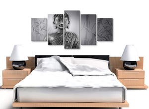 5 Panel Black White Buddha Office Canvas Wall Art Decor - 5373 - 160cm XL Set Artwork
