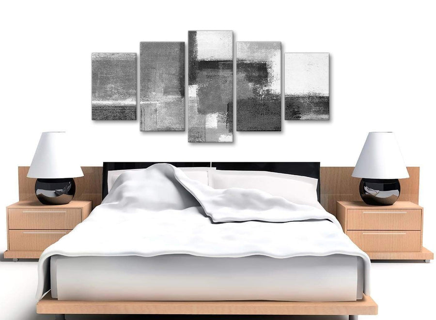 5 Part Black White Grey Abstract Living Room Canvas Pictures Decorations - 5368 - 160cm XL Set Artwork