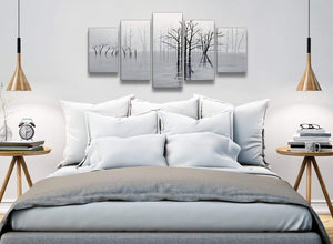 5 Piece Black White Grey Tree Landscape Painting Dining Room Canvas Pictures Decorations - 5416 - 160cm XL Set Artwork