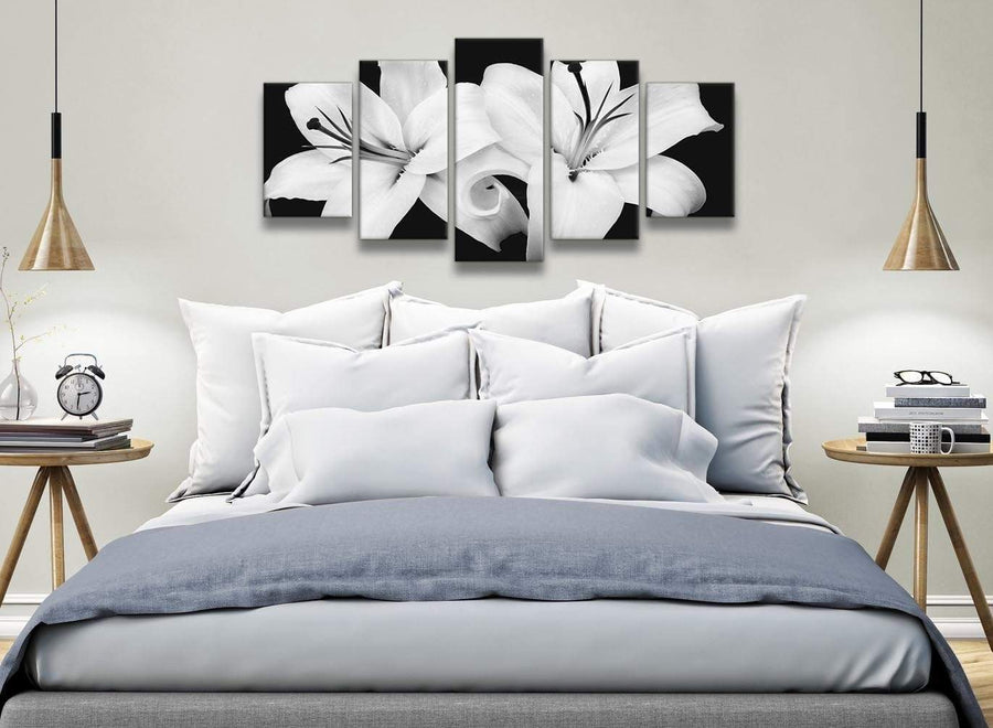 5 Piece Black White Lily Flower Dining Room Canvas Wall Art Decor - 5458 - 160cm XL Set Artwork