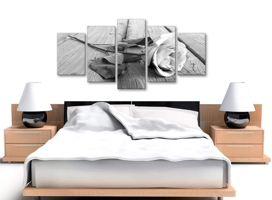 5 Piece Black White Rose Floral Dining Room Canvas Wall Art Decorations - 5372 - 160cm XL Set Artwork