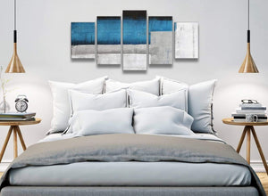 5 Panel Blue Grey Painting Abstract Living Room Canvas Wall Art Decor - 5423 - 160cm XL Set Artwork