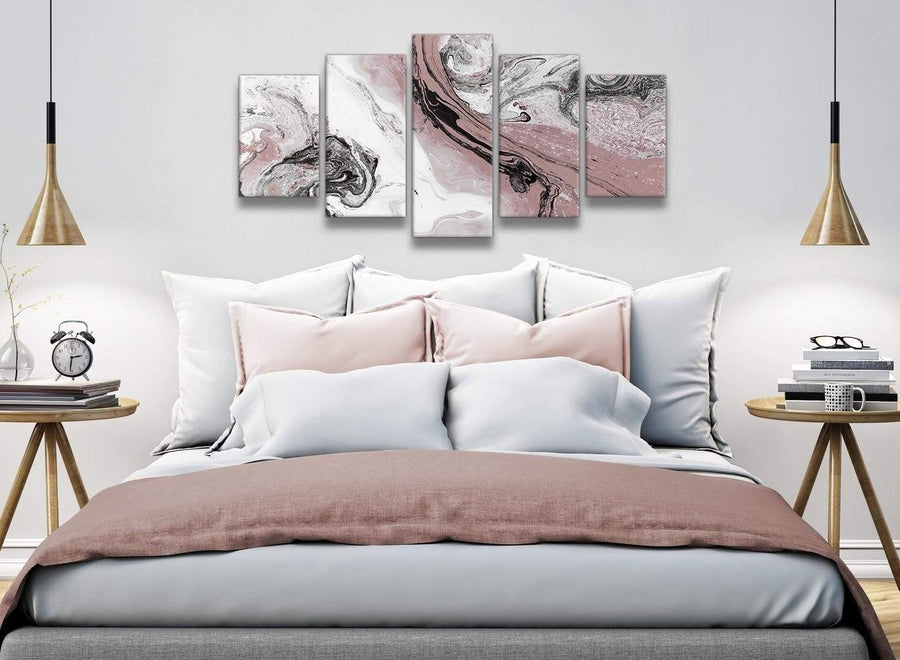 5 Panel Blush Pink and Grey Swirl Abstract Office Canvas Wall Art Decor - 5463 - 160cm XL Set Artwork
