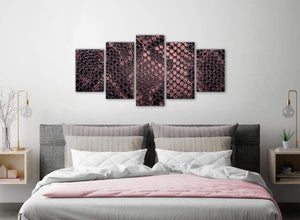 5 Panel Blush Pink Snakeskin Animal Print Abstract Bedroom Canvas Pictures Decor - 5473 - 160cm XL Set Artwork