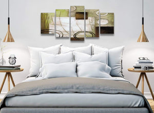 5 Panel Brown Green Painting Abstract Bedroom Canvas Wall Art Decor - 5421 - 160cm XL Set Artwork
