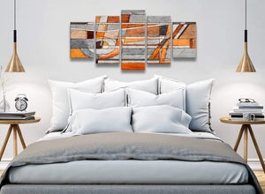 5 Panel Burnt Orange Grey Painting Abstract Living Room Canvas Pictures Decorations - 5405 - 160cm XL Set Artwork