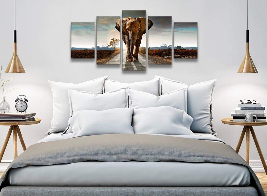5 Piece Canvas Wall Art Pictures - Modern Elephant Landscape - 5209 - 160cm XL Set Artwork