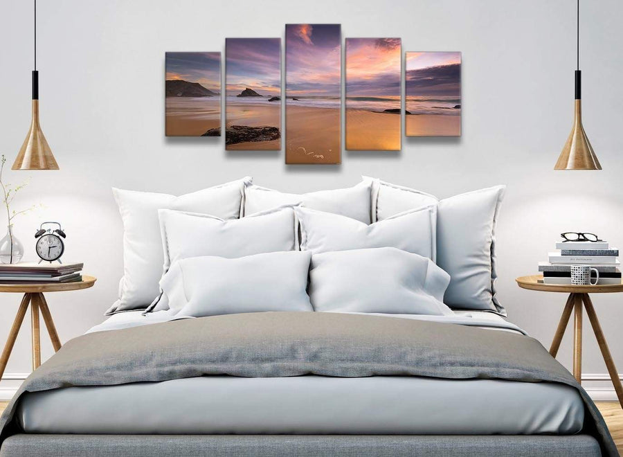 5 Panel Canvas Wall Art Pictures - Panoramic Landscape Beach Sunset - 5198 - 160cm XL Set Artwork