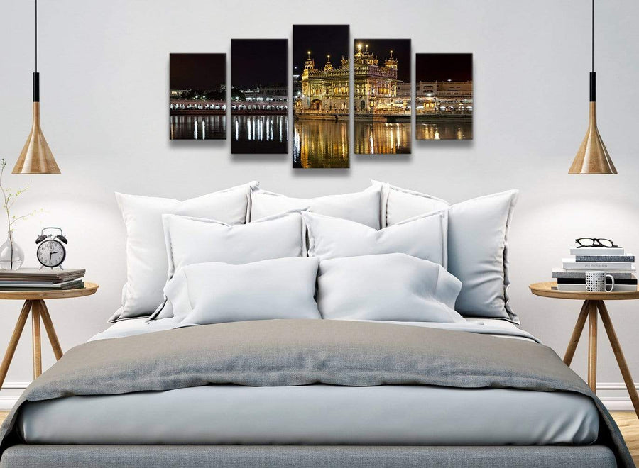 5 Piece Canvas Wall Art Pictures - Sikh Golden Temple Amritsar Night - Canvas - 5195 - 160cm XL Set Artwork