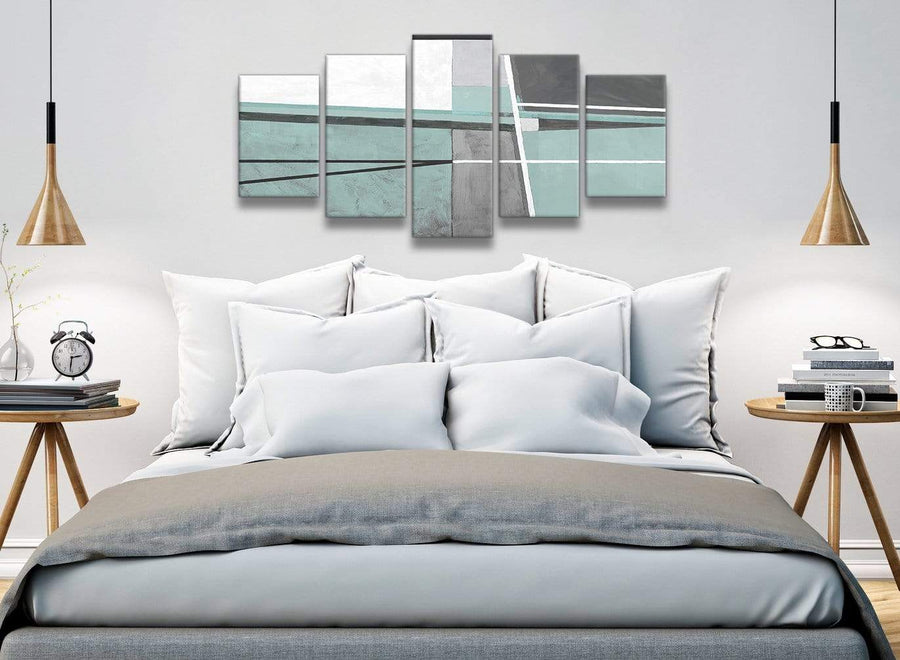 5 Piece Duck Egg Blue Grey Painting Abstract Dining Room Canvas Wall Art Decor - 5396 - 160cm XL Set Artwork